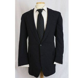 Vintage Suits & Blazers - Vtg Hickey Freeman Wool Navy Pinstripe Blazer